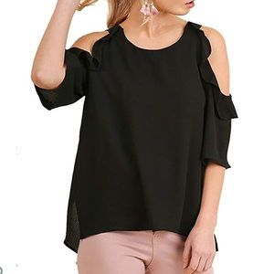 Umgee boho chic cold shoulder blouse with ruffle